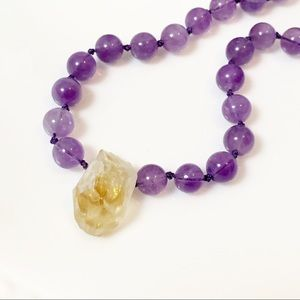 Knotted Raw Citrine & Amethyst Choker